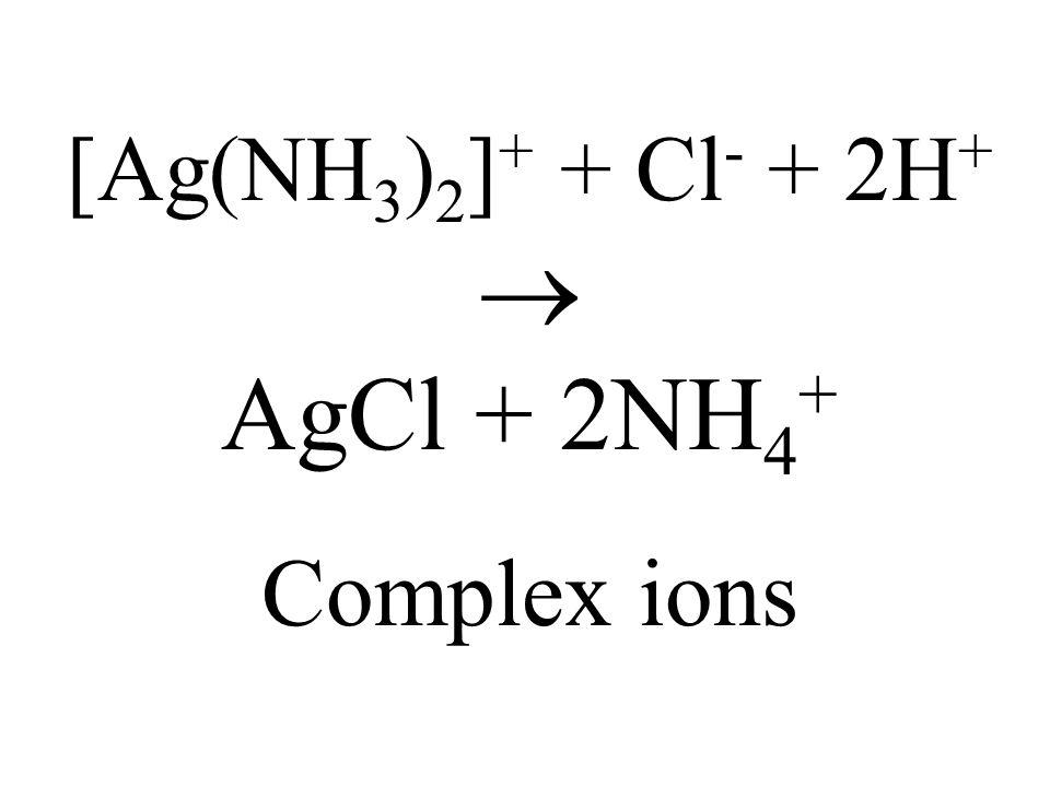 [Ag(NH3)2]+ + Cl- + 2H+  AgCl + 2NH4+